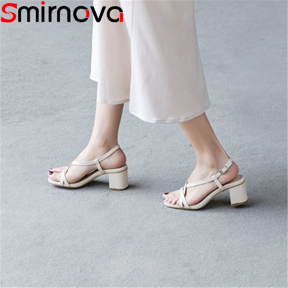 Smirnova 2018 summer women sandals wedding party shoes buckle hot sale shoes genuine leather fashion high heels shoes woman