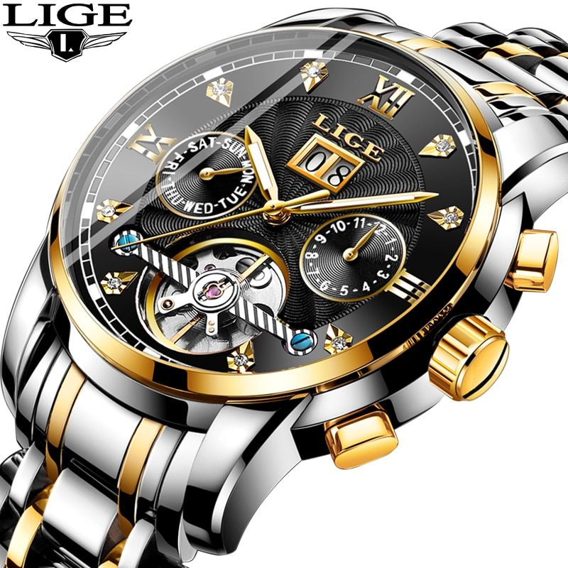 2019 Business Uhr Herren Uhren Luxus Marke Top LIGE Tourbillon Sport Mechanische Uhr Männer Mode Automatische Uhr Reloj Hombre