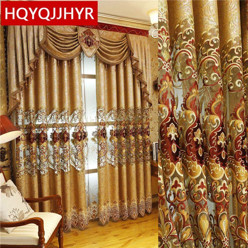 Style européen et américain Royal or rideaux de luxe pour salon fenêtre rideau chambre fenêtre rideau cuisine/hôtel