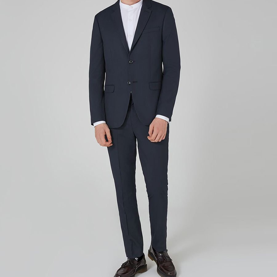 Navy Blue Smart Casual Business Suit  Groom Tuxedos Wedding Suits Fashion Prom Party Suits Slim Fit  2Pcs  (Jacket+Pants)  2018