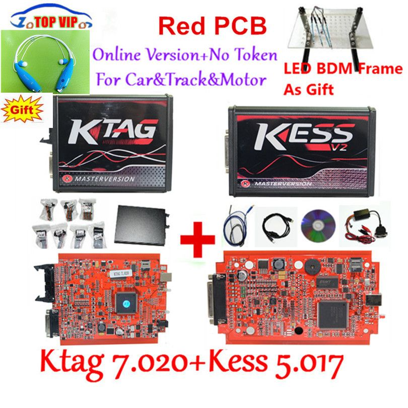 Newest KTAG 7.020 100% No Token Limited Kess 5.017 V2.47 Chip Tuning Kit KTAG 7.020 Master V2.23 E+LED BDM Frame Kess V2
