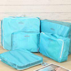 IUX 5 pcs/ensemble De Mode Double Fermeture Éclair Étanche Polyester Hommes et Femmes Bagages Voyage Sacs Emballage Cubes Organisateur Gros
