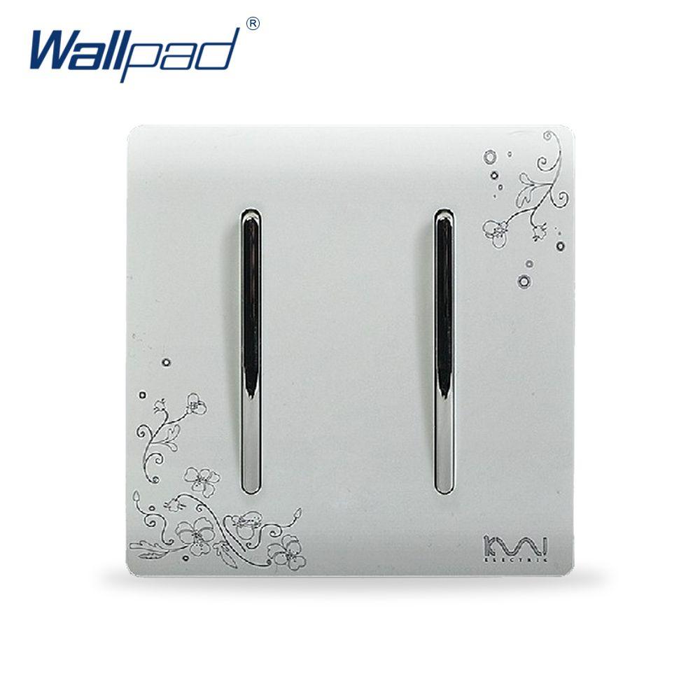 2 Gang 1 Way Interruptor de La Venta Caliente Mayorista Wallpad Lujo Wallpad Luz de Interruptor de Pared Panel de Diseño de La Flor 110 ~ 250 V