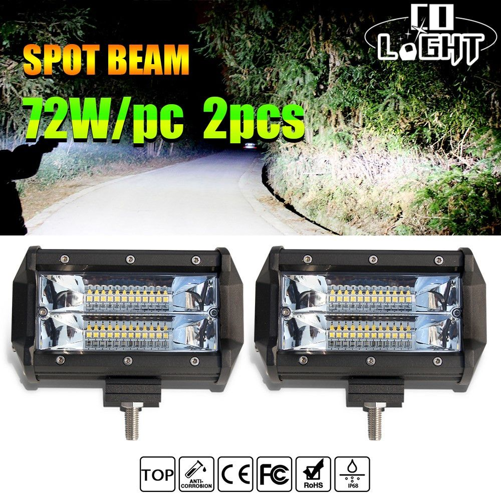 CO LIGHT 1 Pair 5 inch Work Light Bar 72W 144W Spot 12V 24V IP68 6000K for ATV SUV KAMAZ ATV MINI BUS Driving Lights Car Styling