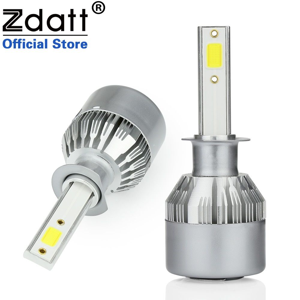 Zdatt 2Pcs Super Bright H1 Led Bulb 80W 8000Lm Headlights Car Led Light 12V 24V With Fans Automobiles