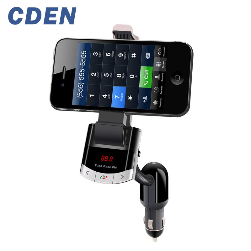 Car Charger Phone Holder Bluetooth Handsfree with FM Transmitter LCD Display Car Kit Support U Disk and USB Charge AUX Input