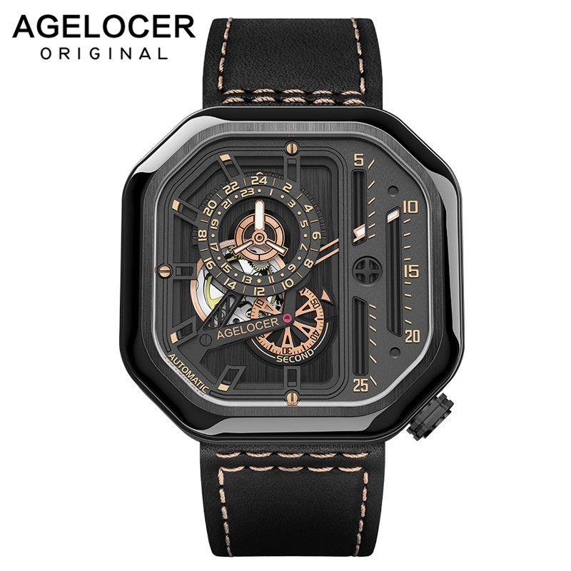 AGELOCER Schweizer Sport Uhren Selbst wind Automatische Skeleton Uhr Stahl Wasserdichte Mechanische Uhr Platz Lumious reloj hombre