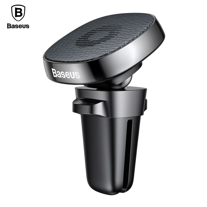 Baseus Leather Car Holder Universal Magnetic Mobile Phone Holder Stand For iPhone X 8 7 Magnet Air Vent Mount Car Phone Holder