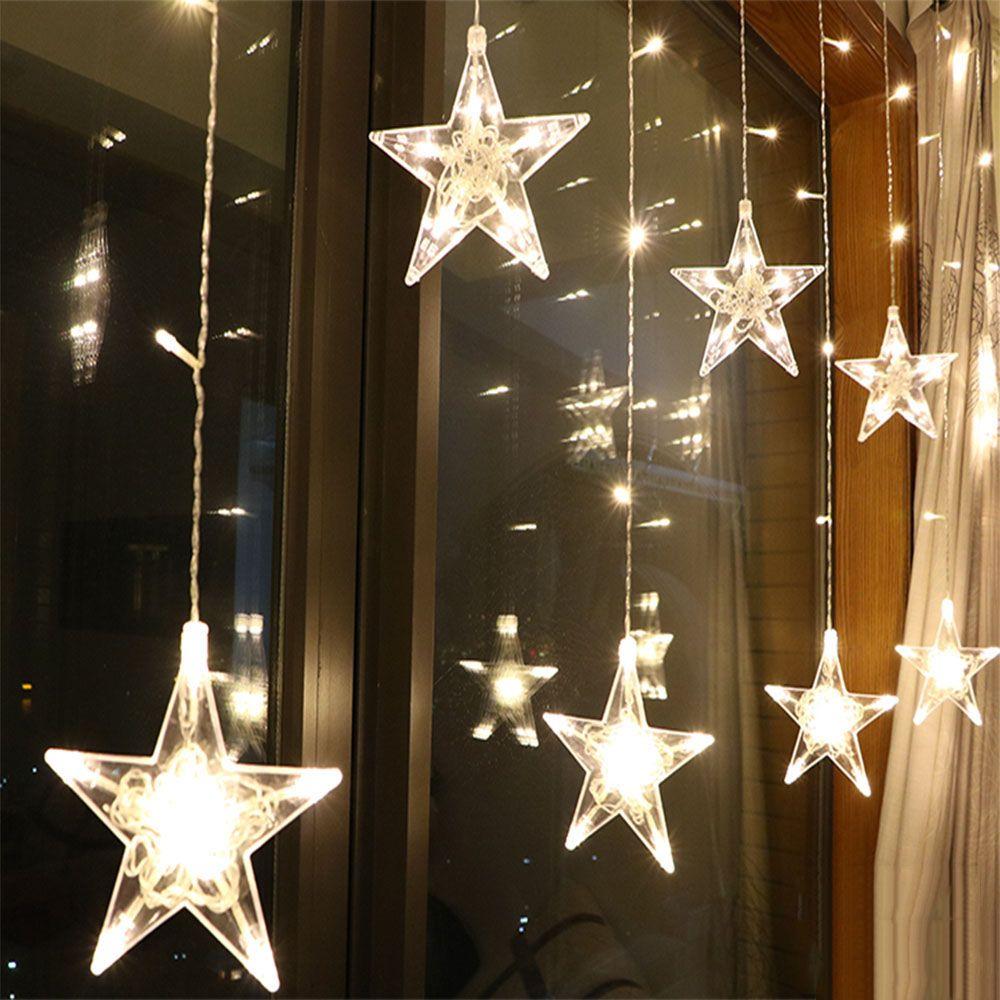 2.5M LED noël étoile rideau lumières 220V ue extérieur/intérieur guirlande chaîne fée lampe pour fête mariage vacances décoration