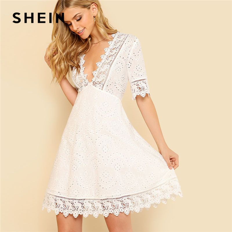 SHEIN Lace Trim Eyelet Embroidered Dress Women White Deep V Neck Half Sleeve Cut Out Plain Dress 2018 Summer Sexy Cotton Dress