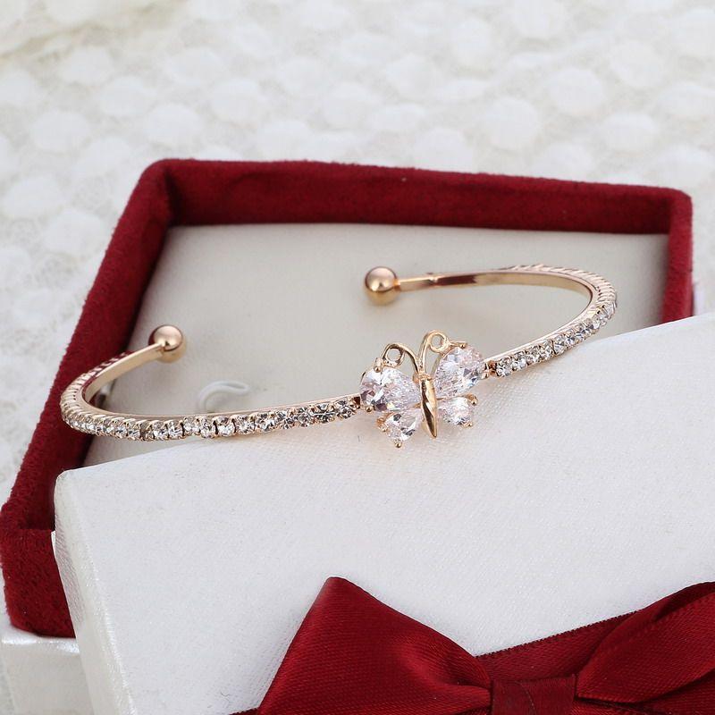 MINHIN New Arrival Romantic Butterfly Design Cuff Bracelet High Quality Golden Plated Wedding Bracelet Girl's Banquet Accessory