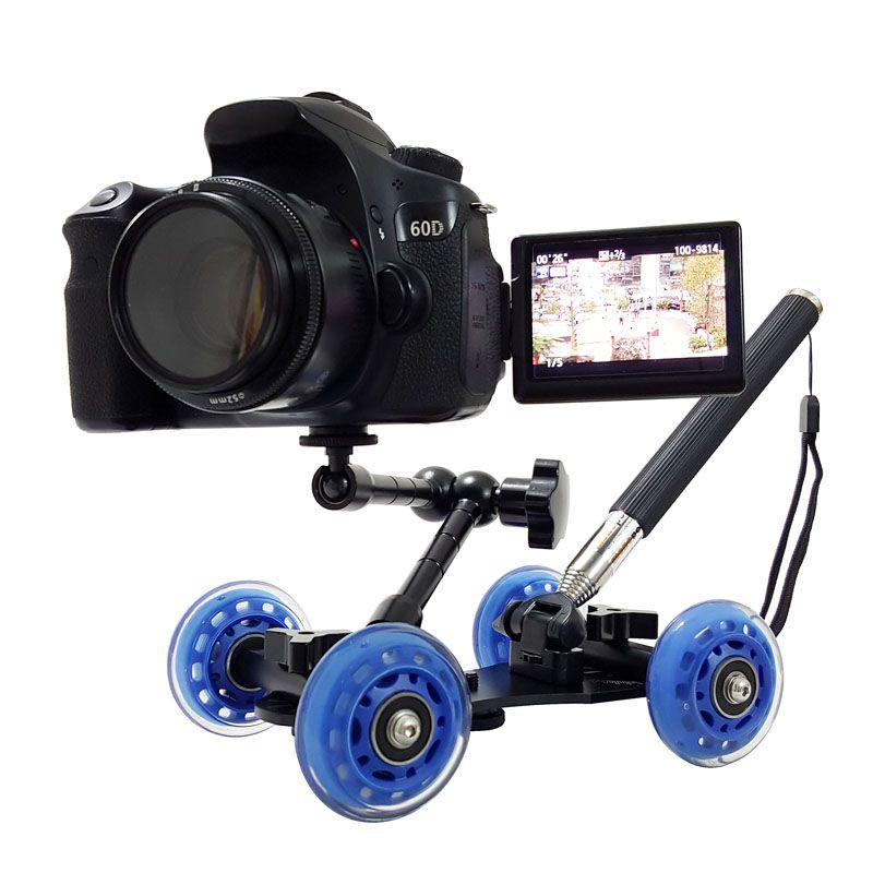 3in1 tableau photographie dolly + 11 pouces bras magique + levier de poche monopode DSLR plate-forme caméra film kit D7100 750D 80D accessoires