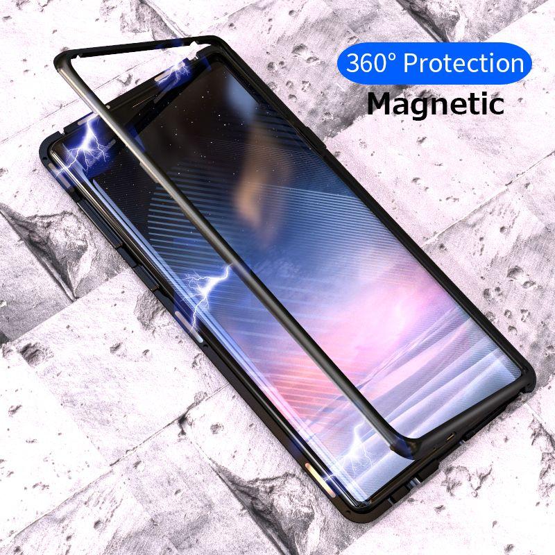 Adsorption magnétique Flip Cas pour Samsung Galaxy Note 9 S8 S9 Plus Trempé Verre de Couverture Arrière De Luxe En Métal Pare-chocs Dur cas