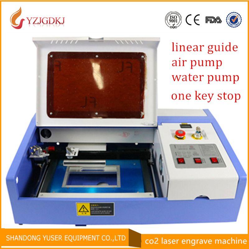 3020 40w co2 laser engrave machine ,laser engraver cutting machine diy laser cutter arcylic linear guide coreldraw software