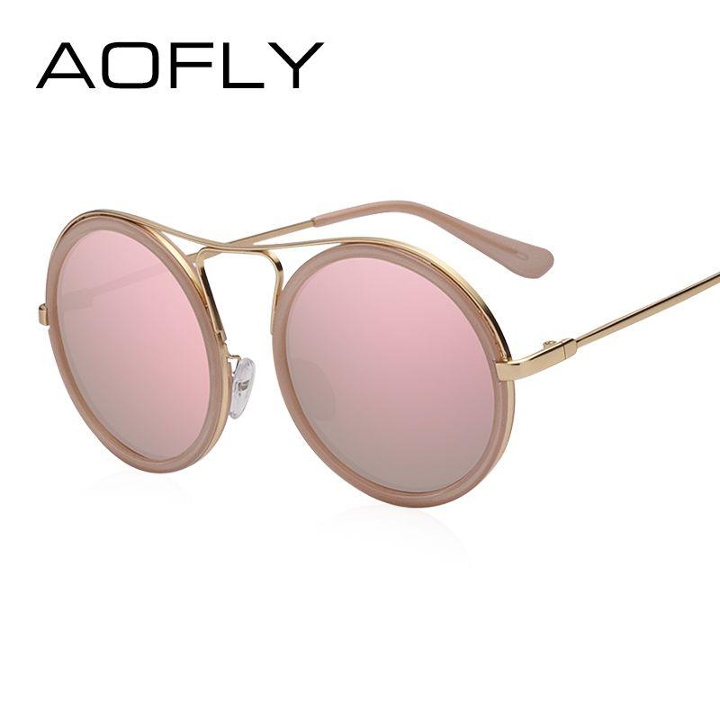 AOFLY Vintage lunettes de Soleil Rondes Femmes Réfléchissant lunettes de Soleil Femme Femmes Nuances de Marque Designer lunette de soleil UV400 AF79136