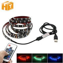 5 V USB LED Bande 5050 RGB TV Fond Éclairage 60 Led/m avec 17Key RF Contrôleur 50 cm/1 m/2 m Ensemble.