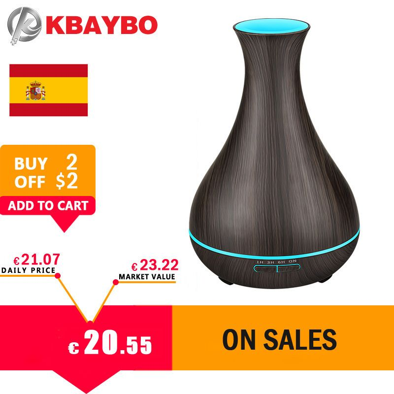 400ml Essential Oil Diffuser Dark Wood Grain Ultrasonic Aroma Cool Mist Humidifier for Office Bedroom Baby Room Yoga Spa 2018