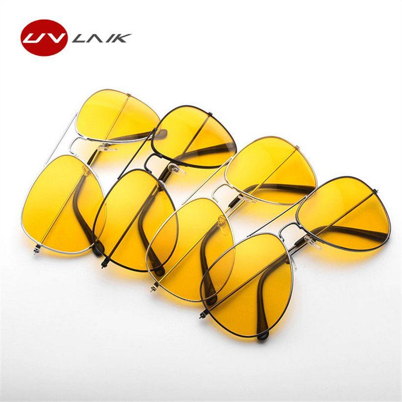UVLAIK Fahrerbrille Nacht Fahren Sonnenbrille Männer Frauen UV400 Schattierungen Pilot Sonnenbrille Männlich-weibliche Nachtsicht Goggle Sonnenbrille