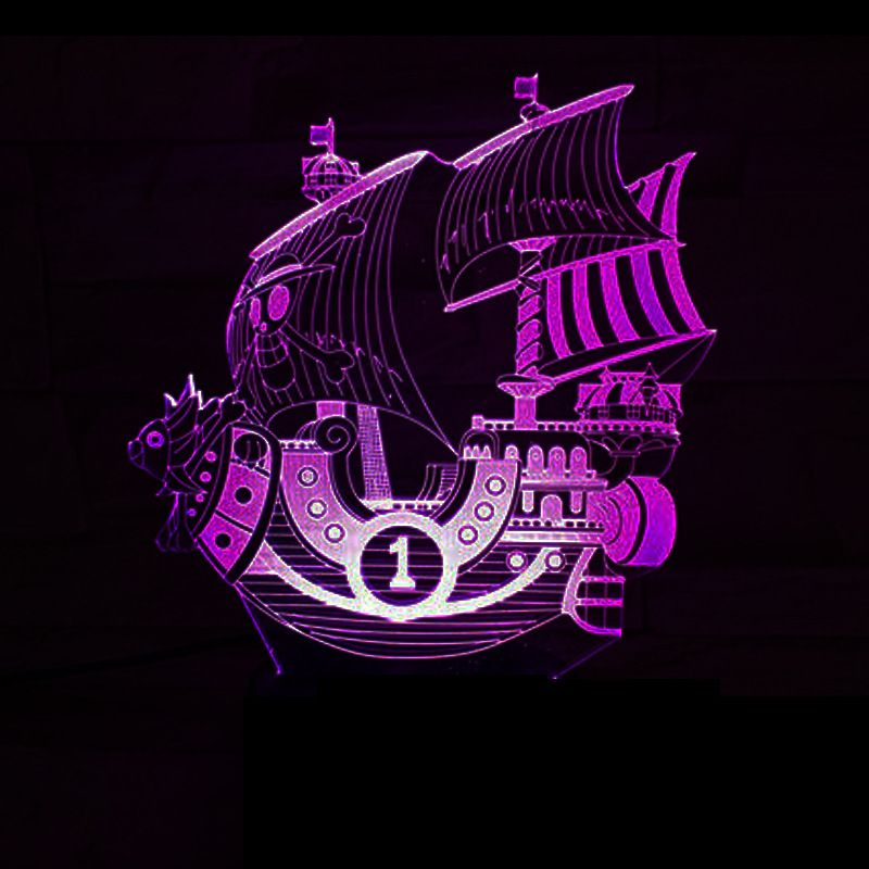 3D Sailing Sea Ship Boat Night Light LED Changeable Mood Lamp USB Bedroom Bedside Decor One Piece Baby Sleeping Table Lamp Gifts