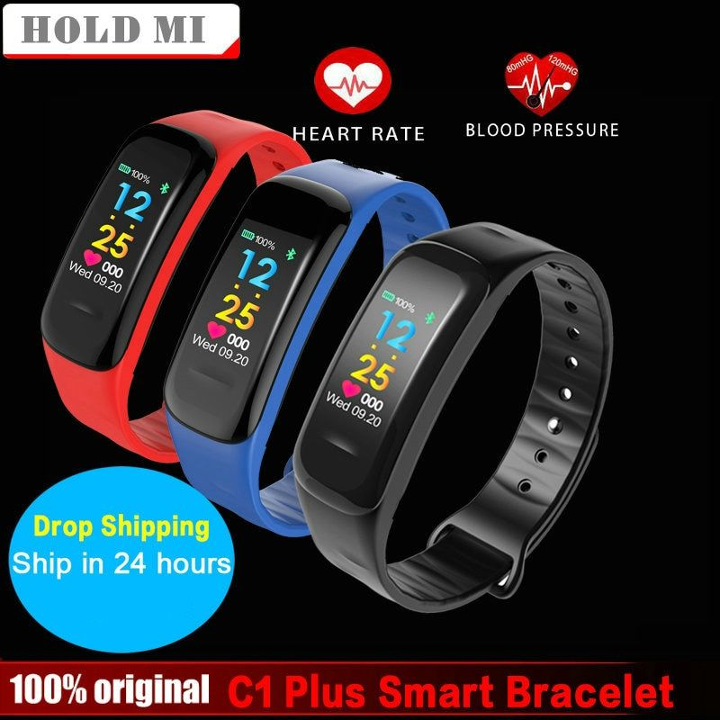 C1 Plus Color Screen Smart Bracelet Blood Pressure CK18 Smart Band Heart Rate <font><b>Monitor</b></font> Fitness Tracker Sport Smart Wristband