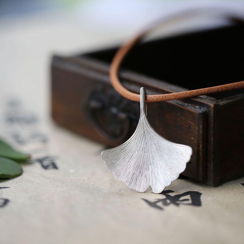925 sterling silver Ginkgo leaf necklace Designer handmade pendant women fashion jewelry necklaces & pendants pingente wholesale