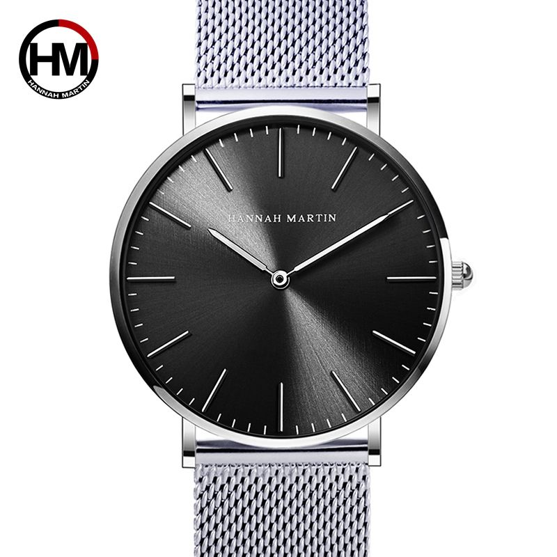 Japan Quartz Movement Stainless Steel Mesh New Top Luxury Waterproof Men Ultra Thin Simple Wristwatch Fashion Casual Watches