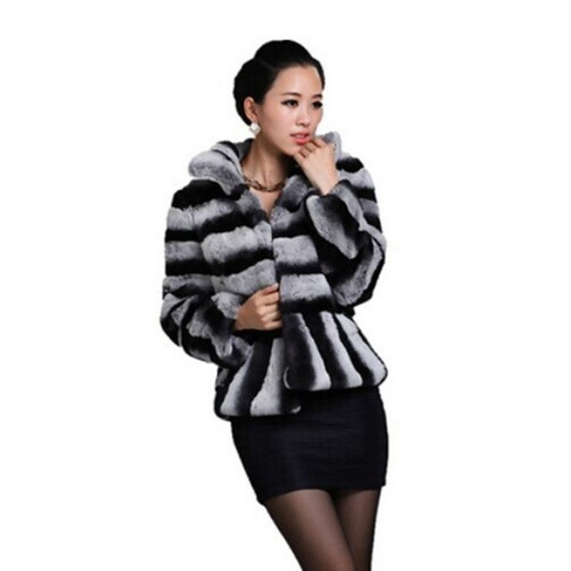 2017 Newest Ladies' Natural Printed Rex Rabbit Fur Jacket Coat Mandarin Collar Winter Women Fur Outerwear Coats Overcoat 1000