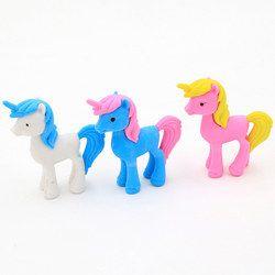 2 pcs Creative licorne cheval animal crayon gomme Mignon animal amovible en caoutchouc gomme kawaii papeterie fournitures scolaires enfants cadeau