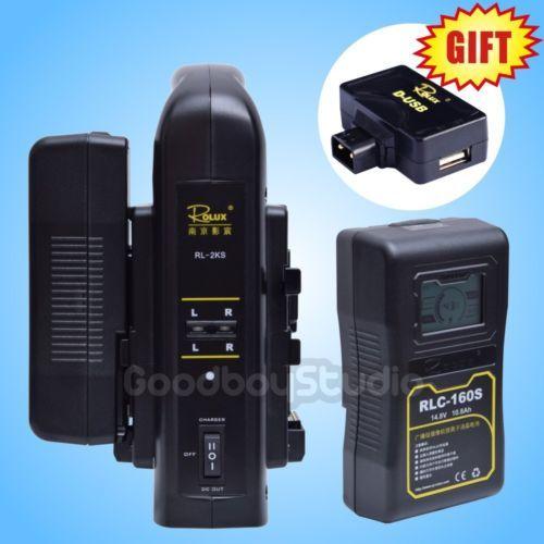 2PCS Rolux RLC-160S 160WH S0ny LCD Li-ion Battery + 2KS V-mount Dual Charger Kit