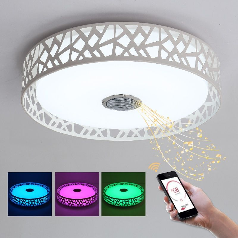 RGB Music Lamp LED Chandelier With Bluetooth Control Color Changing Luminaire LED Lustres Modern Chandelier Lighting For Bedroom
