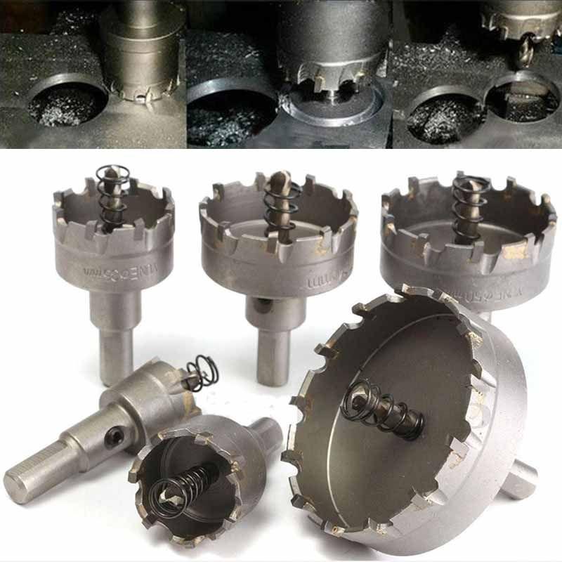 6Pcs/set Carbide Tipped TCT Drill Bit Set Stainless Steel Alloy Hole Saw Cutter Tool 22mm/30mm/35mm/45mm/<font><b>50mm</b></font>/65mm