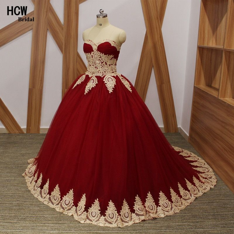 Vintage Burgundy Quinceanera Dress With Gold Lace 2018 High Quality Sweetheart Puffy Tulle Ball Gown Quinceanera Dresses