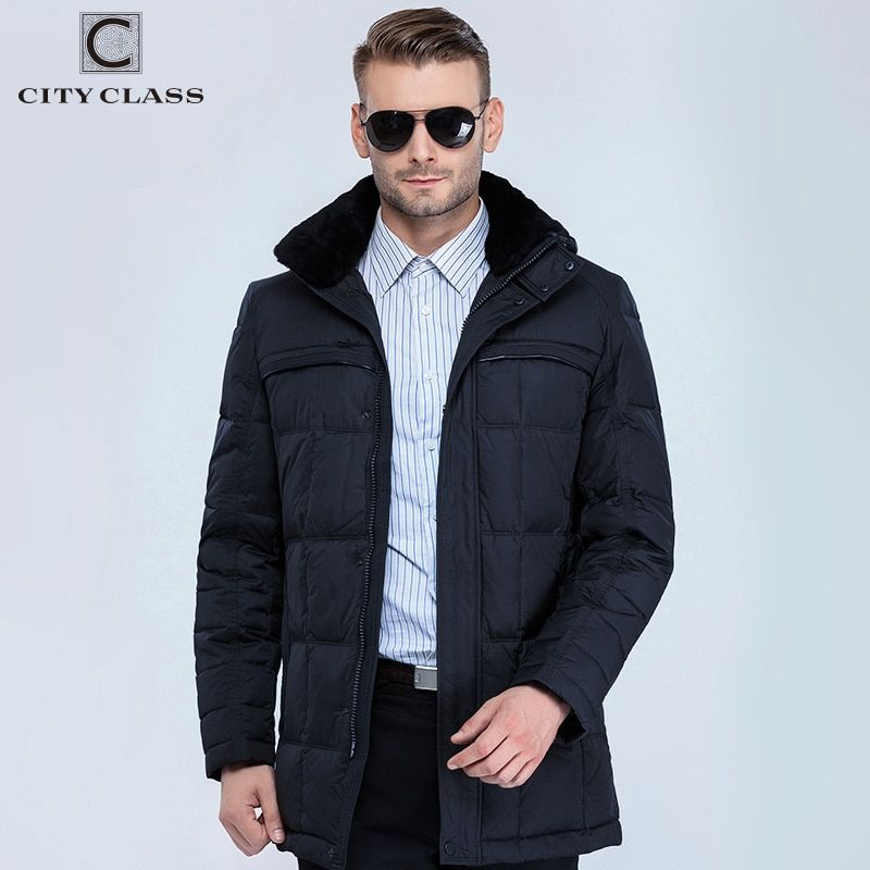 CITY CLASS New Men Fashion Jackets And Coats Casual BioDown Removable Fake Fur Collar Men Winter Thick Warm Jacket Parkas 13291