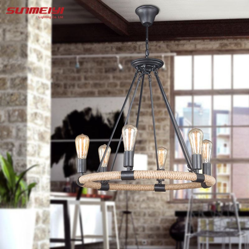 2018 Retro Vintage Rope Pendant Light Lamp Loft Creative Personality Industrial Lamp Edison Bulb American Style For Living Room
