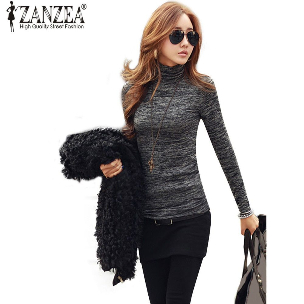 S-3XL ZANZEA Sweaters Women Turtleneck Pullovers Tops Autumn Winter Casual Knitted Long Sleeve Slim Pull Femme Plus Size Jumper