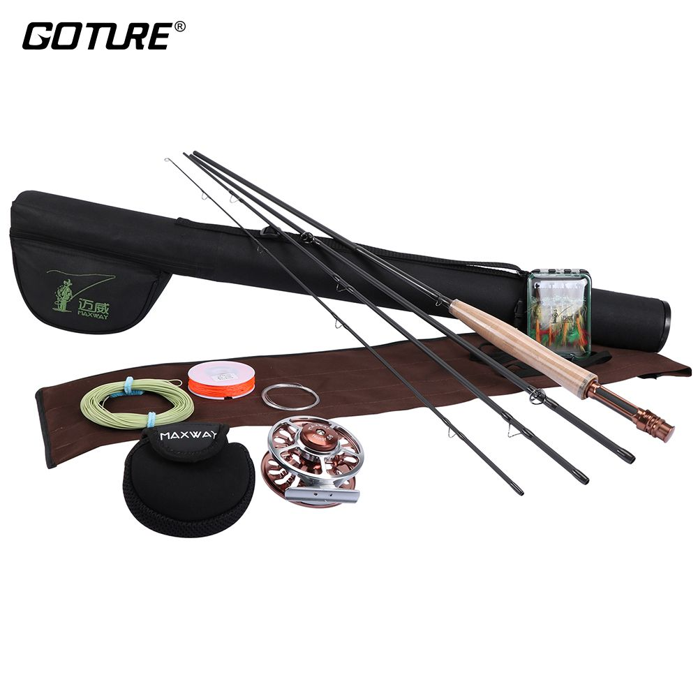 Goture Fly Fishing Set 2.4M 2.7M Fishing Reel Rod Combo 3/4 5/6 Aluminium Fly Reel with Line Bag Flies Fly Fishing Kit pesca