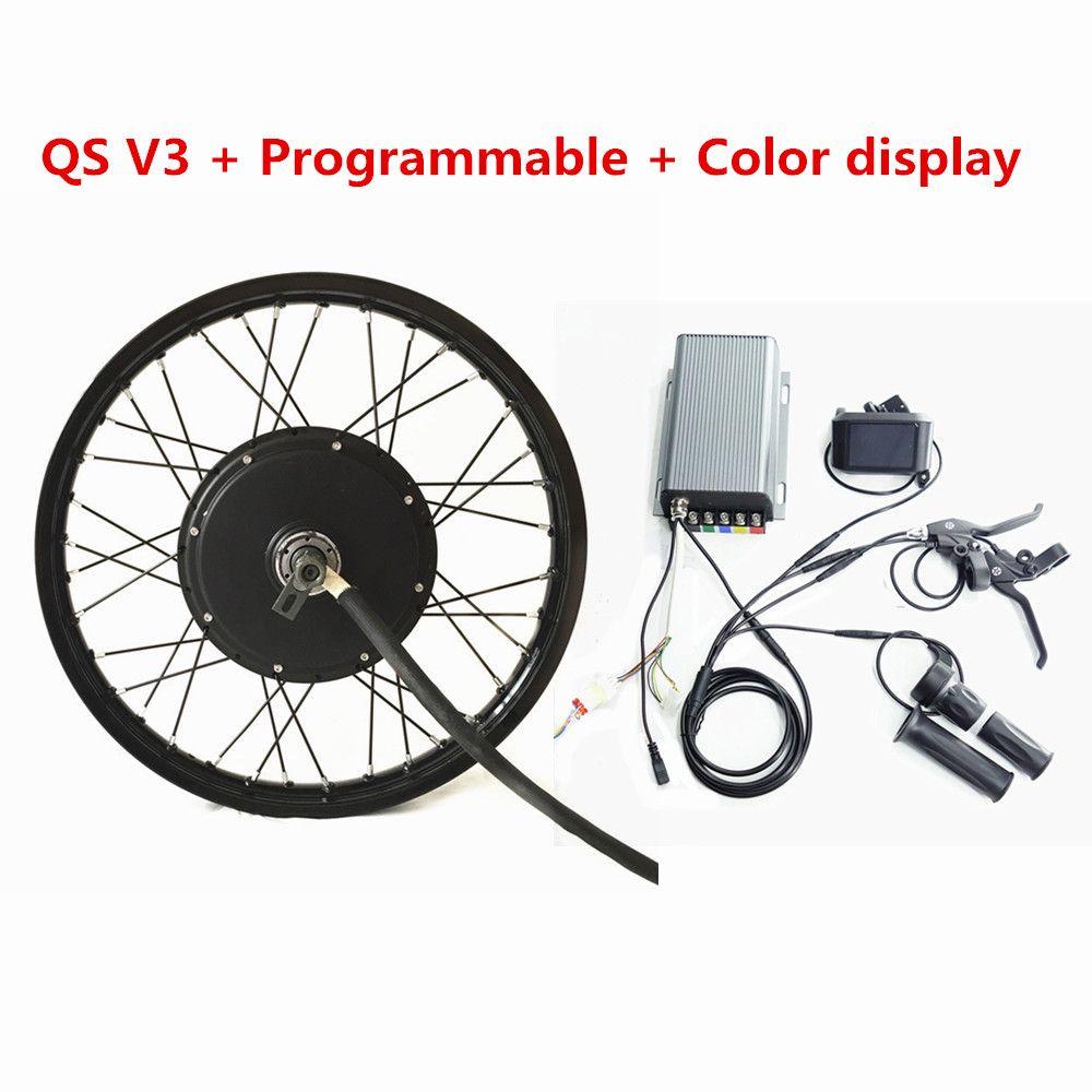Programmable TFT Color Display QS V3 Ebike 72v 5kw Rear Wheel Electric Bicycle Motor Kit 72V 5000W Electric Bike Conversion Kit