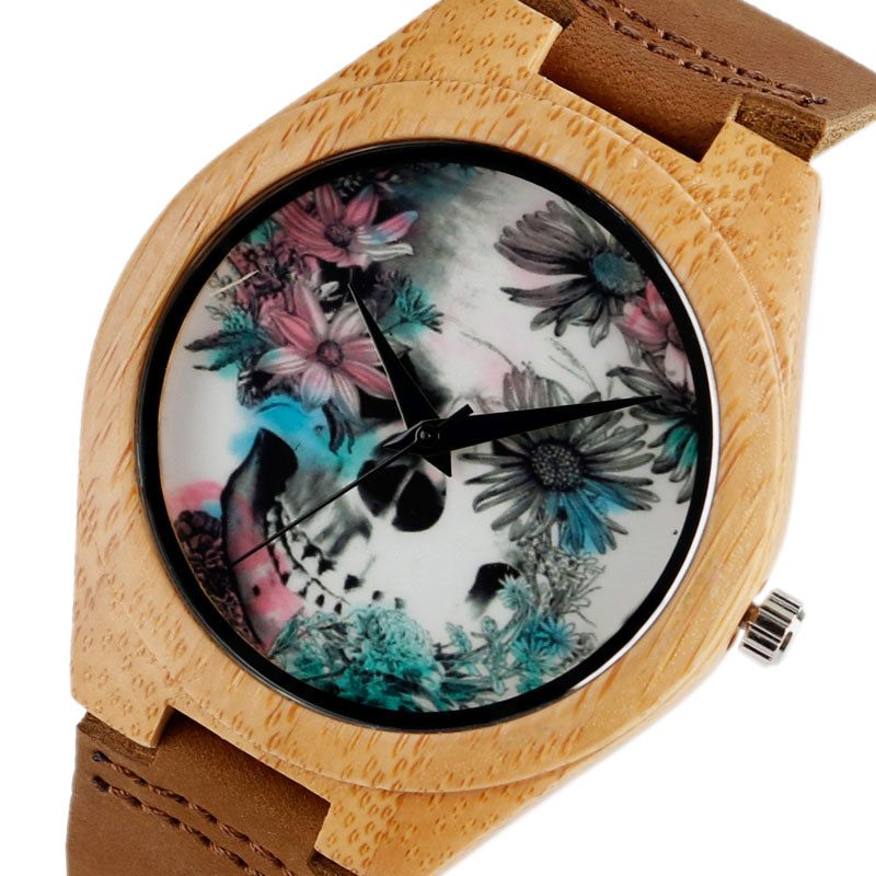 Women Watches Bracelet Bamboo Watch Ladies <font><b>Cool</b></font> Design Flower Skull Wooden Handmade Real Leather Band Casual Nature Wood Clock