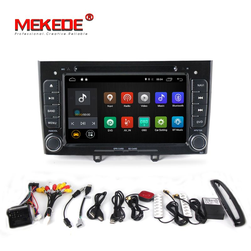 2din Quad Core Android 7.1 Car radio GPS Player For Peugeot 408 308 wifi 4G LTE bluetooth DVD GPS 2G RAM support OBD2 DVR DAB+