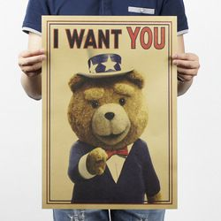 I Want You Teddy Bear Vintage Kraft Paper Classic Poster Home School Office Decoration  Art Magazines  Retro Posters and Prints