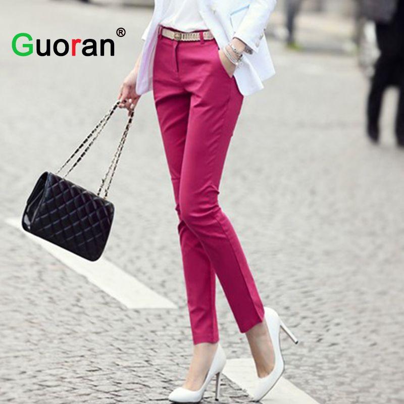 {Guoran} femmes formelle bureau travail pantalon 5 couleurs plus la taille dames crayon pantalon noir OL mode noir blanc kaki pantalon