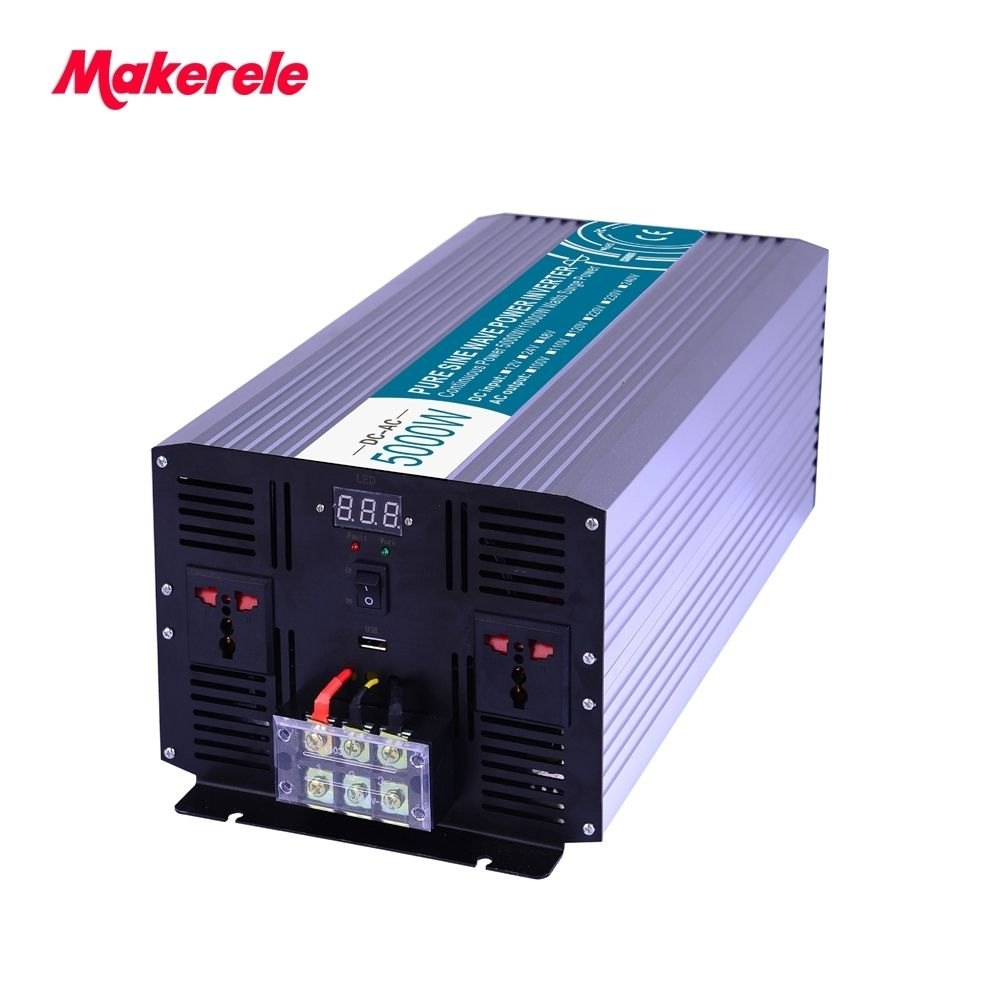 Off Grid Pure Sine Wave Power Inverter 5000W 12V/24V/48VAC to 110V/220VDC Converter Solar Inverter Power Supply