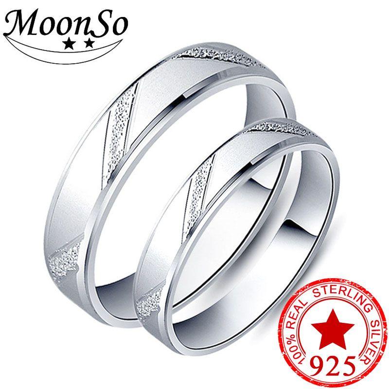 925 sterling argent couple anneau hommes et femmes doigt conception promesse pour amateurs aiment bande de mariage de fiançailles bijoux R4343S