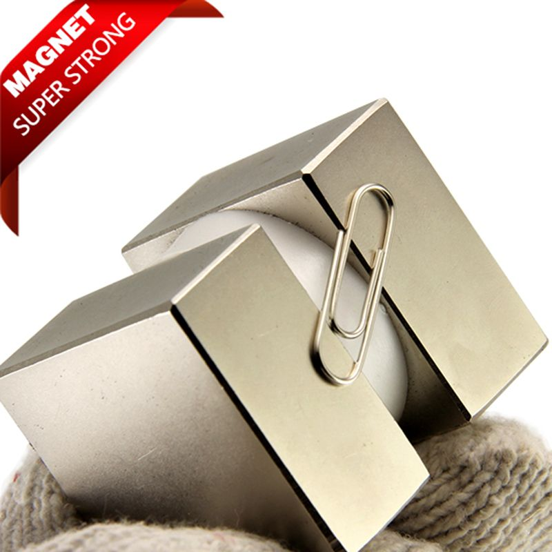2pcs 40x40x20mm Super Strong Rare Earth pull force 85kg Rare Earth magnets Block N52 Neodymium Magnet high quality
