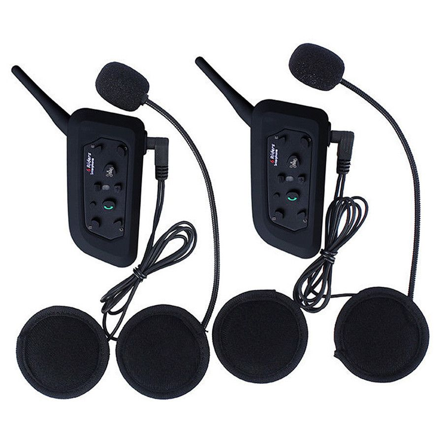 2Pcs V6 Motorcycle Helmet Intercom BT Headset 6 Riders 1200M Bluetooth Interphone Wireless Walkie Talkie Bikers Ear Headphone