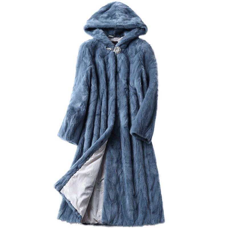 Luxury Genuine Sliced Mink Fur Coat Jacket With Hoody Winter Genuine Women Fur X-Long Outerwear Plus Size 3XL LF5169
