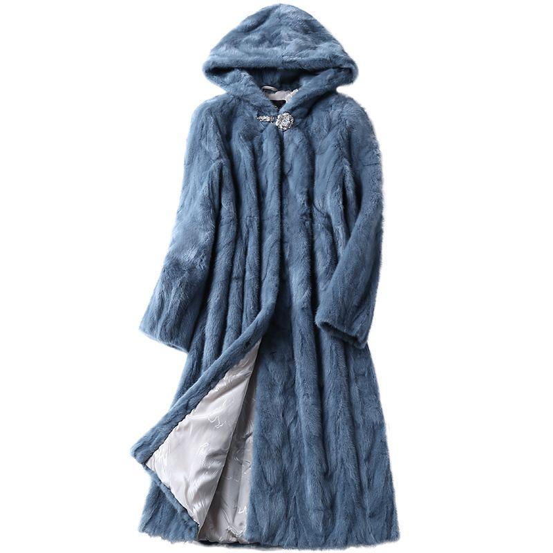 Luxury Genuine Sliced Mink Fur Coat Jacket With Hoody Winter Genuine Women Fur X-Long Outerwear Plus Size 3XL LF5169