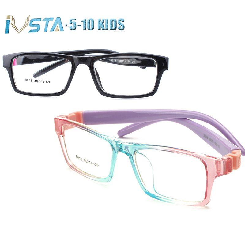 IVSTA 5-10 enfants lunettes cadres filles rose optique cadre myopie Prescription amblyopie lunettes caoutchouc manchon pas de vis 8818