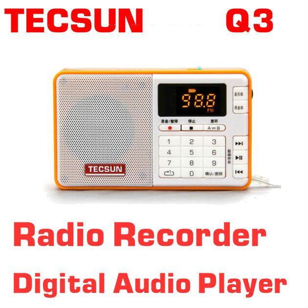 Livraison gratuite TECSUN Q3 FM stéréo enregistreur de poche lecteur MP3 Radio FM