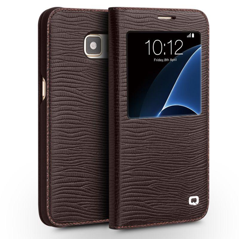 QIALINO Echte Echtem Leder Fall für Samsung Galaxy S7 & S7 rand für G9300 G9350 Smart Window View Flip Abdeckung Schlaf-spur up